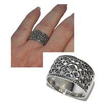 Bague anneau large ajouré en argent massif 925 et marcassite T 54 bijou
