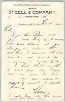 1895 STEELL & CO*GENERAL STORE*CRENSHAW JEFFERSON COUNTY PENNSYLVANIA*PA*LETTER