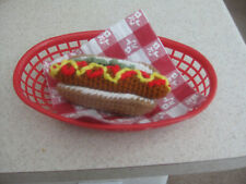 Handmade HOT DOG pretend PLAY FOOD amigurumi FUN TOY Kitchen any age