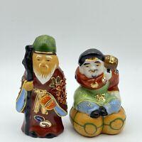 Set Of 2 Kutani Gods of Good Fortune Ceramic Figurines Gold Accent