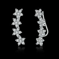 Crystal Ear Climber Earrings 18K Rose Gold Crawlers Cubic Zirconia Sweep