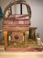 "Large Rustic Folk Art Woodland Birdhouse Sparrow 14x13x11"" Pine, Oak, Moss, Vine"