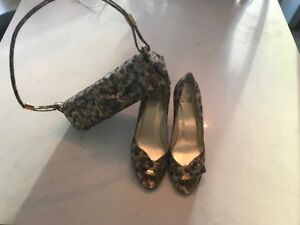 Stewart Weitzman 8 with matching clutch, leopard gently worn