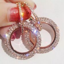 9K REAL ROSE GOLD FILLED CIRCLE HOOP EARRINGS MADE WITH SWAROVSKI CRYSTALS HE36