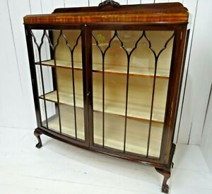 Victorian Bow Fronted Display Cabinet in Walnut