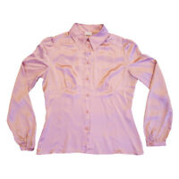Valentino Women's Silk Button Up Shirt | Vintage Italian Designer Pink VTG