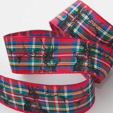 Royal Stewart Tartan With Stags Christmas Ribbon Berisfords 25mm Cut Length