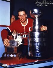 Jean Beliveau SIGNED 11x14 Photo + HOF 72 Montreal Canadiens PSA/DNA AUTOGRAPHED