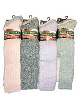 3 pairs ladies long wool blend padded sole wellie boot socks.walking.size4-7