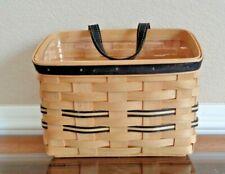 Longaberger Natural Black Khaki Stripe Wall Pocket Basket & Protector New 2006