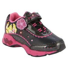 Girls Disney Princess Black Light Up Athletic Shoes Size 11 Pink Hearts NIB