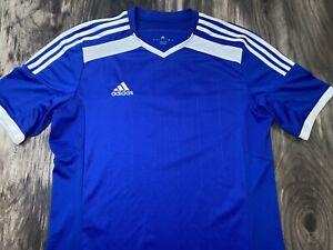 Men's Adidas blue soccer jersey Climacool large #99 0647