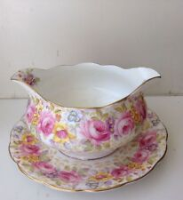 ROYAL ALBERT SERENA GRAVY BOAT WITH ATTACHED UNDERPLATE