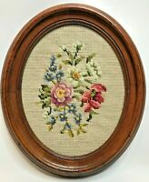 Completed needlepoint embroidery floral flowers pink vtg oval 11x13 home decor