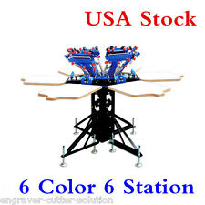 USA! 6 Color 6 Station Screen Printing Press Micro-adjust Rotatable Machine