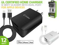 UL Certified 12W 2.4 Amp Dual Port Home Charger + Cable for Apple iPhone iPad