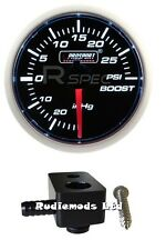 Ford Fiesta st180 52mm Blanco Boost Gauge PSI y de montaje adaptador