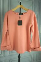 New Massimo Dutti Cotton sweater sweatshirt rhinestone trims Pink Peach Sz XS S