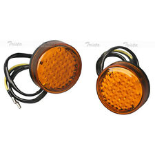 2x20 LED Amber Round Motorcycle ATV Bike Turn Signals Indicator Light Orange #JA