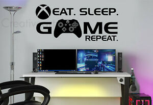 Eat Sleep Game Repeat Wall Stickers Decals XB Gamer Controller Wall Art ESGR1