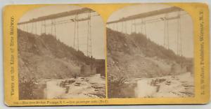 STEREOCARD- NEW IRON BRIDGE- PORTAGE, NY- 1ST PASSENGER TRAIN/ ERIE RAILWAY