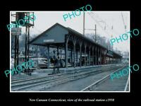 OLD LARGE HISTORIC PHOTO NEW CANAAN CONNECTICUT THE RAILROAD STATION c1950