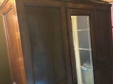 VINTAGE OAK WARDROBE WITH MIRROR AND DRAWER.