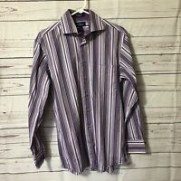 Paul Fredrick Men Shirt Sz M Long Sleeve Button Up Purple Striped Finest Cotton