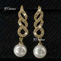 18K YELLOW WHITE GOLD GF MADE WITH SWAROVSKI CRYSTAL LADIES WOMEN PEARL EARRINGS