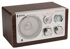RADIO DESIGN RETRO VINTAGE AM FM PORTABLE BOIS FONCE ENTREE AUX MP3 SMARTPHONE