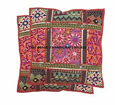 2 PC Indian Handmade Patchwork Cushion Cover Pillow Cover Couch Cushion Case 16""