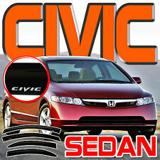 Civic 06-11 Sedan 4 Door Window Visors Rain Deflector Vents Guards Shades + Logo