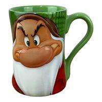 Rare Vintage Disney Store Large Green Tea Coffee Mug Grumpy Snow White Dwarf 3D