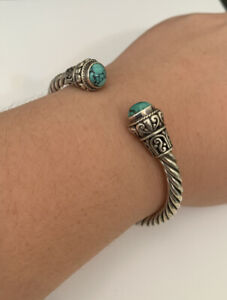 Sterling Silver Hinged Cable Bracelet W/ Turquoise Ends