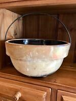 "Vtg Country Farmhouse Stoneware Yellow/ Brown Glaze 10"" Mixing Bowl Bale Handle"