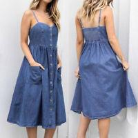 Womens Holiday Strappy Button Pocket Denim Dress Summer Beach Midi Swing Dress