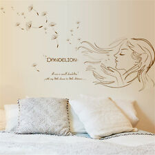 Dandelion Girl Sketch Home Room Decor Removable Wall Sticker Decal Decorations