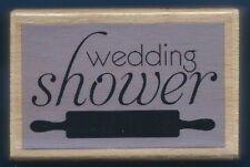 WEDDING SHOWER Rolling Pin Gift Card Words Hampton Art Studio G NEW RUBBER STAMP
