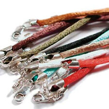 """12 Beadsmith Multicolor Satin 2mm Necklaces w/ .925 Sterling Lobster Clasps 18"""""""