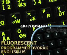 Glowing Programmer Dvorak English keyboard sticker