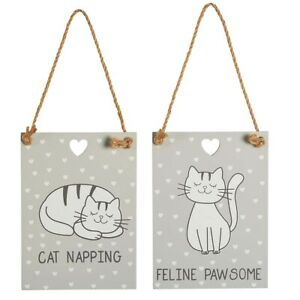 Pair of Funny Grey Cat MDF Wooden Hanging Plaque Signs Humorous Gift Decor