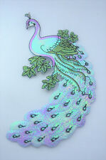 PEACOCK BIRD 18cm SHINY LILAC  Embroidered Sew Iron On Cloth Patch Applique