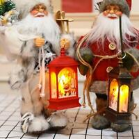 Vintage Christmas LED Light-Up Lantern Xmas Santa Table Lamp Ornament Decor Gift