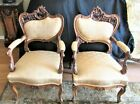 Rare Exquisitely Carved FRENCH 1890s Pair ART NOUVEAU Arm Chairs Complete Redone