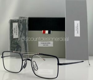 Thom Browne Square Eyeglasses TBX909-49-03 Navy Blue Metal Clear Demo Lens NEW