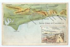 South Coast of England (Sussex) map postcard c1920