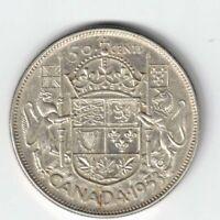CANADA 1953 NSF LD 50 CENT HALF DOLLAR QUEEN ELIZABETH CANADIAN .800 SILVER COIN