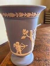 Wedgwood Blue Jasperware Vase-Urn 5.5� Cupid & Other Figures Mint Condition