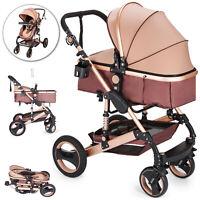 Luxury Baby Stroller 2 in 1 Newborn Pram Foldable Infant Pushchair Bassinet Car