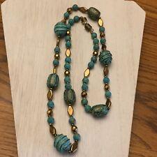 Color Multi Pattern Beads Necklace Vintage Estate Goldtone & Turquoise